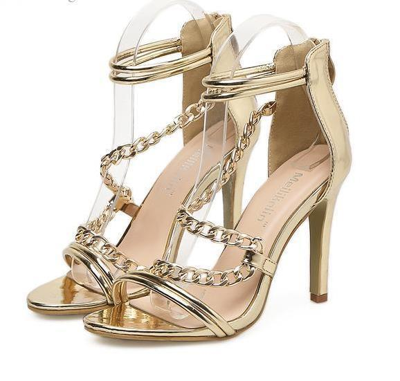 835c5fcf2 Luxury gold chain ankle strap wedding shoes sandals women designer high  heel shoes size 35 to 40
