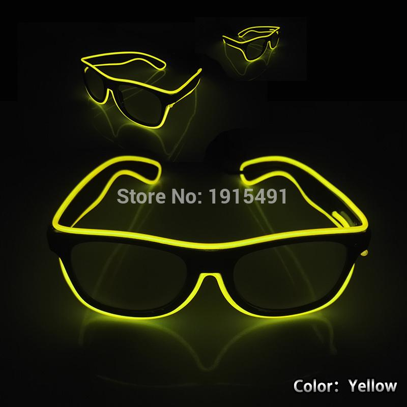 b1ad393dca96 New Style Bright Yellow Blinkling EL Wire Cosplay Glasses Novelty Lighting  Neon Led Shiny Eyewear for Anonymous Party Decorative Novelty Lights  Novelty Led ...