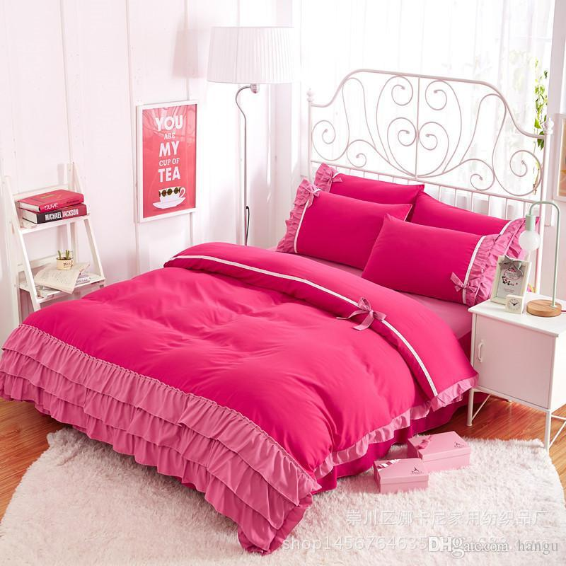 943ff1ae8cf Abbiemao Small Fresh Flowers Printing Bed Cover Princess Lace Style Single Double  Bedding Sets Warm And Soft With Bed Skirt Grey Twin Comforter Blanket Set  ...