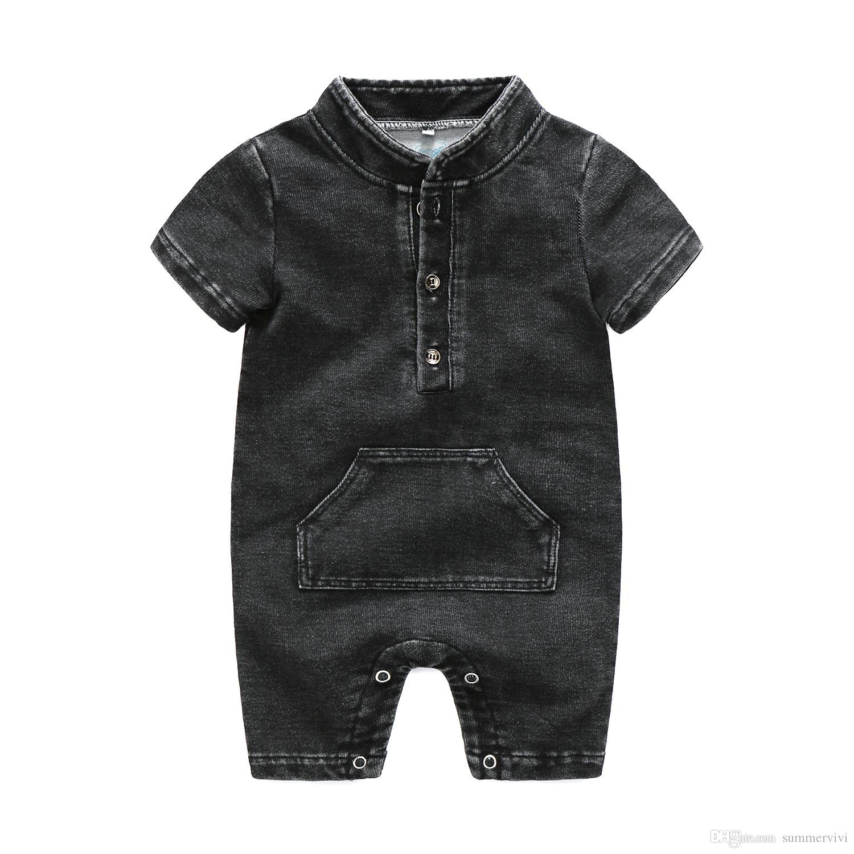 47d8fb05b Baby Boys Jeans Romper Fashion Infant Round Collar Short Sleeve ...