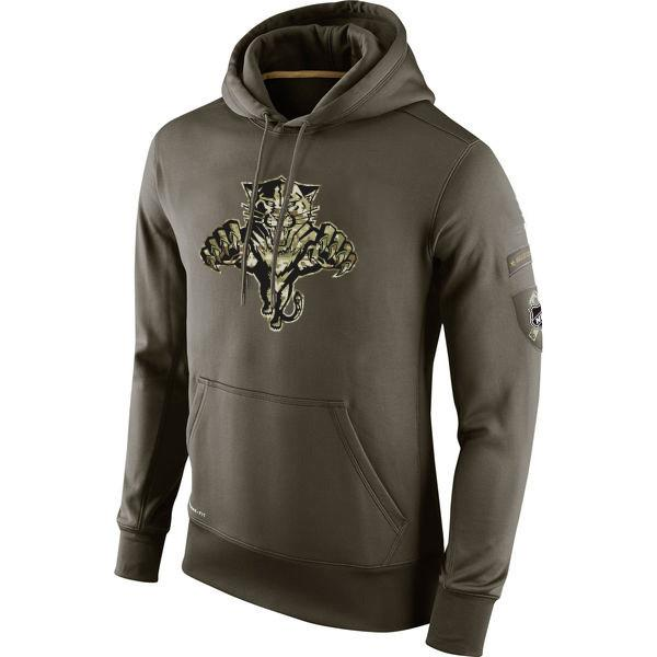 Sudadera de Florida Panthers Olive Salute To Service KO Performance hockey sobre hielo Hoodie hombres mujeres