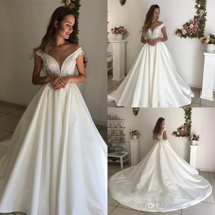 compre 2019 impresionante vestido de novia de tren de la corte