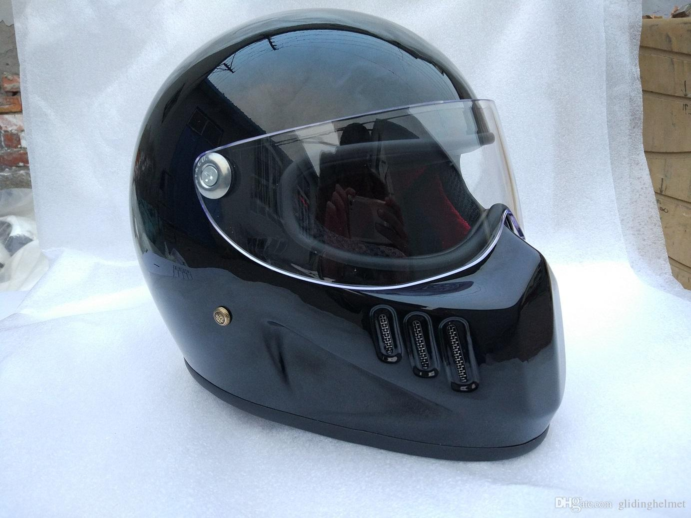 FRP Full Face Motorcycle Cruiser Helmet With Shield For Vintage Cafe Racer Casco Retro Bike Cool Like Bell Fiberglass