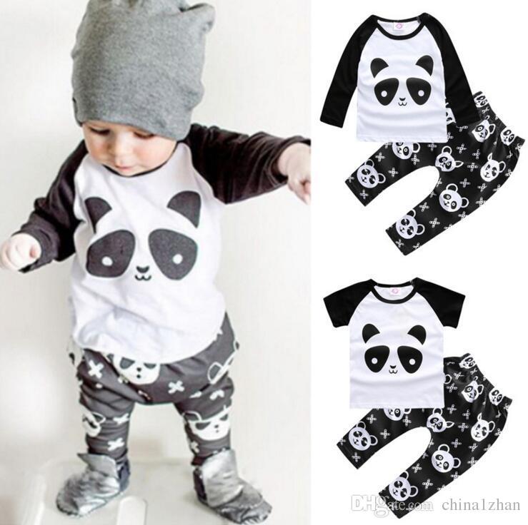 6db834fd2c28 INS Baby Clothes Set Panda Printed T Shirt Pants Sets Cotton Infant ...