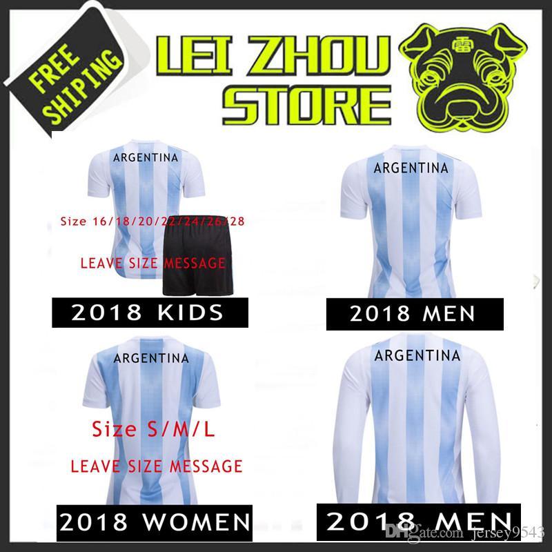 5f308b448 2018 Argentina Camiseta Soccer Jerseys Kids Women MESSI AGUERO ...