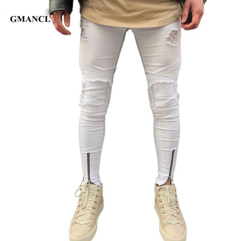 48c4e56242c Compre GMANCL Nuevo Ripped Patchwork Zipper Jeans Hombres Hit Color Blanco  Skinny Jeans Estilo Mendigo Attrit Agujeros Pantalones Motociclista Biker A  ...