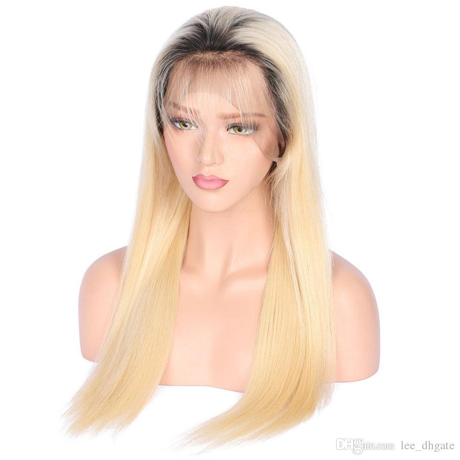 Brazilian human hair color 613 blonde full lace wig dark roots silky straight wig with light brown/transpapent cap 150 density