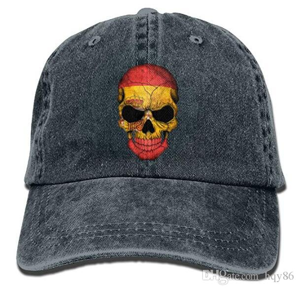 5c3df83aea4 Spanish Flag Skull Mens Womens Vintage Style Classic Sandwich Cap Denim Cap  Multi Color Optional Caps Online Hats And Caps From Hqy86