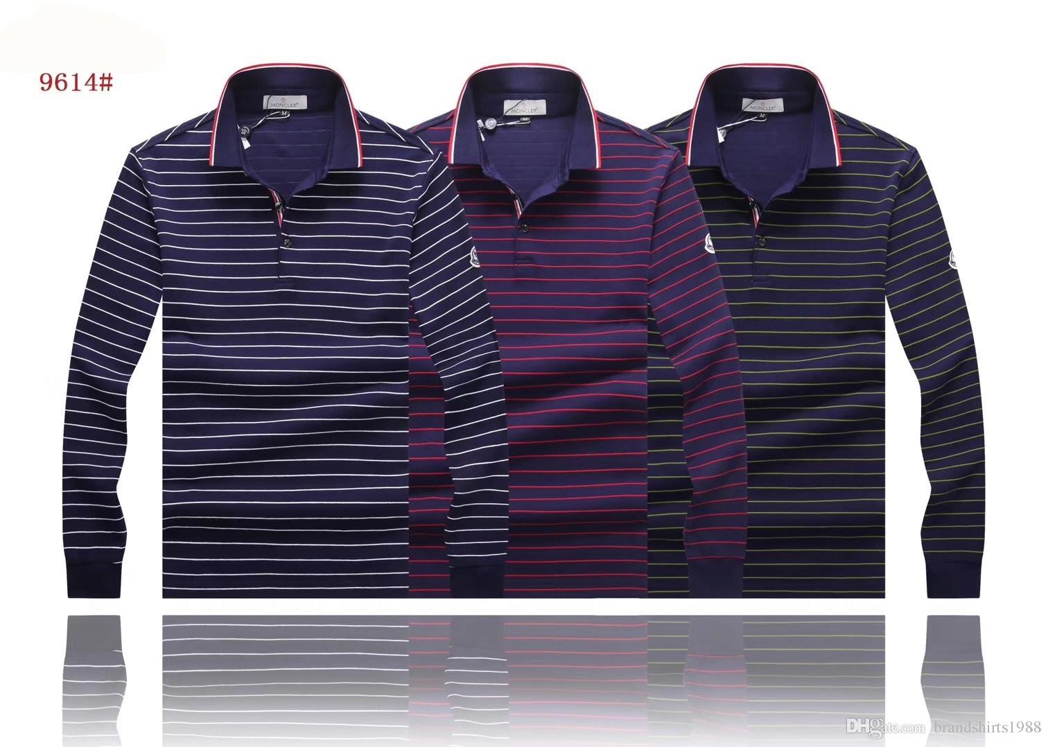 01be0e7bcdd8 NEW 2018 Luxury MON Brand Men s Long Sleeve Polos M9614 Autumn ...