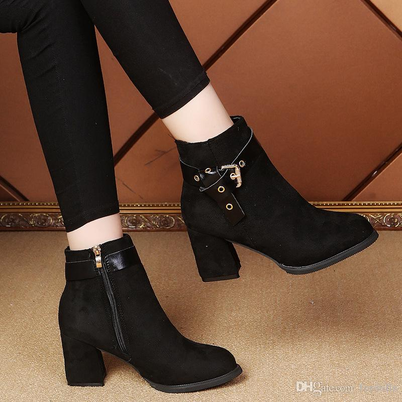 6e50b2a9528cb4 Fashion Martin Boots Stacked Chunky Heels Shoes Ankle Boots Women ...