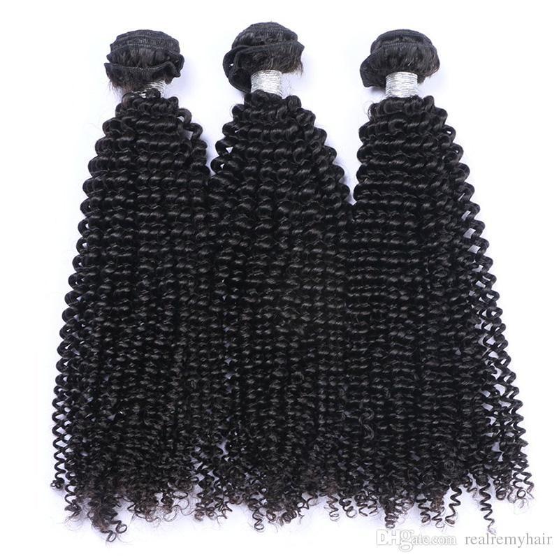 Brasiliana crespi capelli ricci 3 offerte Bundles economici brasiliano Afro crespi ricci estensioni dei capelli umani Brasiliano capelli ricci vergini tesse