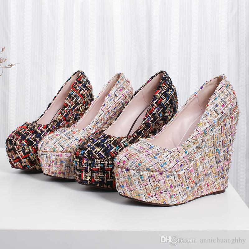 New Women's Shoes Wedges Pumps Concise Female Shoes 15cm High Heels with Platform Shallow Mouth Size: 30-43