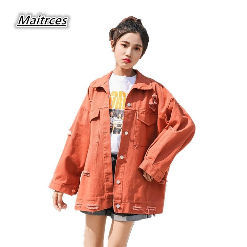 c621d617ee6d1 Oversized Jeans Jacket Women Loose Embroidery Basic Jacket Coat Long ...