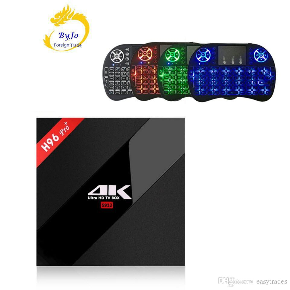 H96 Pro+ 2 3G DDR3 option 16 32G Flash 2.4G 5GHz Wifi HD2.0 4K Amlogic s912 tv box Octa Core Android 7.1 Smart android tv box H96 plus