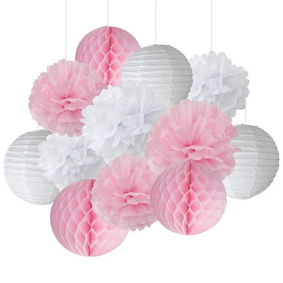 Mixed Pink White Party Tissue Pompoms Paper Lantern Honeycomb Flower
