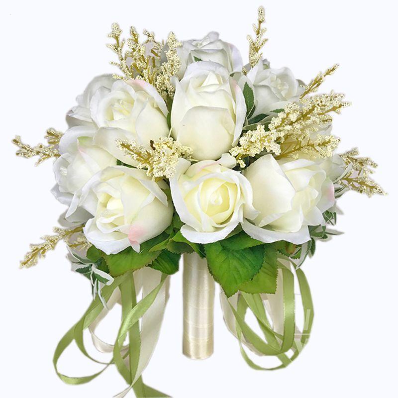 acheter 2018 bouquet de mariée de haute qualité ivory rose jette