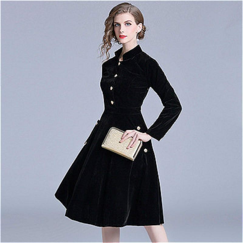Women Velvet Temperament Dresses Solid Color Black Commuter Star Stand  Leader Large Swing Skirt Slim Long Sleeve Dress S~2XL White Summer Lace  Dress Dresses ... ea35cee2ee8f