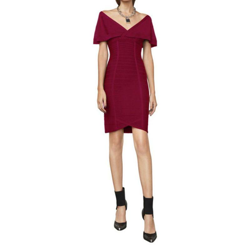 New Style 2018 Women Bandage Dress Wine Red Black Cloak Sleeves Striped Summer Dress Vestido Wedding Evening Club Party Dresses