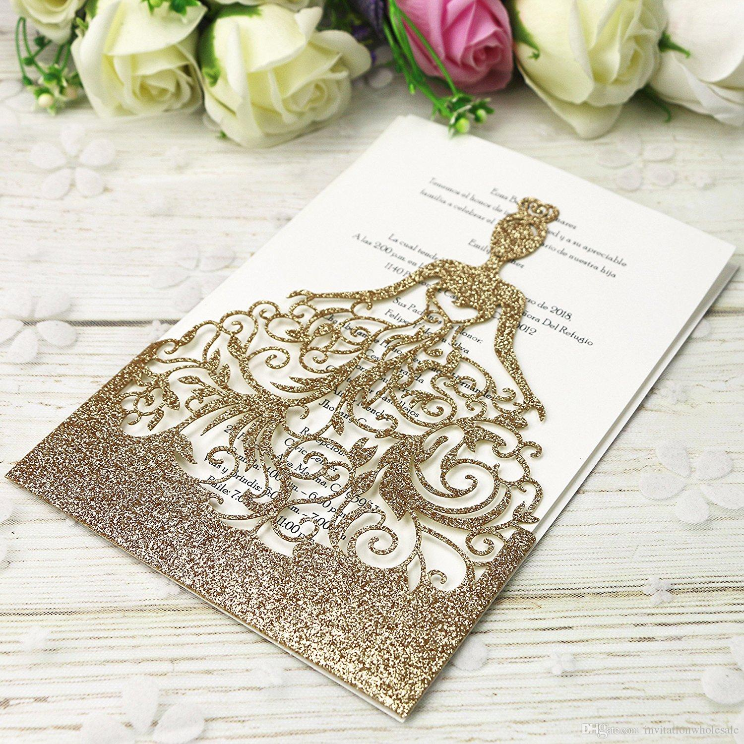 New Style Personalized Free Print Laser Cut Cards For Girl Birthday