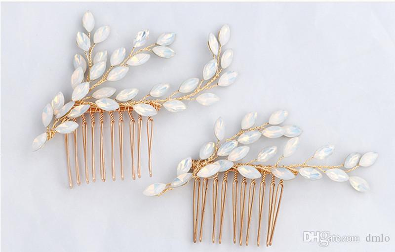 Elegant Bridal Headdress Wedding Hair Combs Bridal Crystal Pearl Hairpins Bridal Headpiece Fashion Women Girls Hair Comb Jewelry Accessories