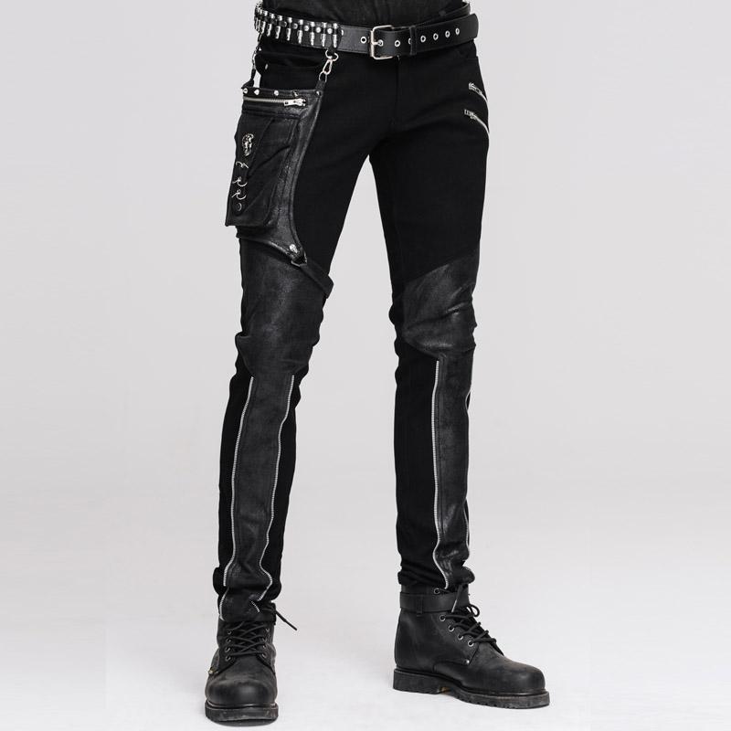 9c8cb78676335 Devil Fashion Steampunk Herren Gerade Hose mit Hüftholster Tasche Lässige  Spliced Hose Gothic Punk Hose