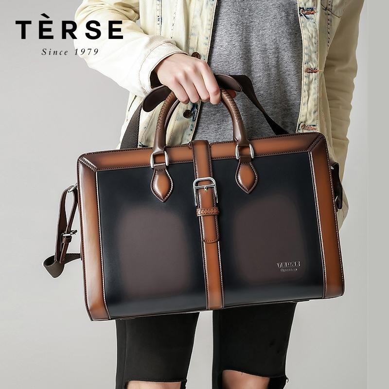 TERSE 2018 New Handbags For Men Handmade Genuine Leather Large ... 37bbb2cce6818
