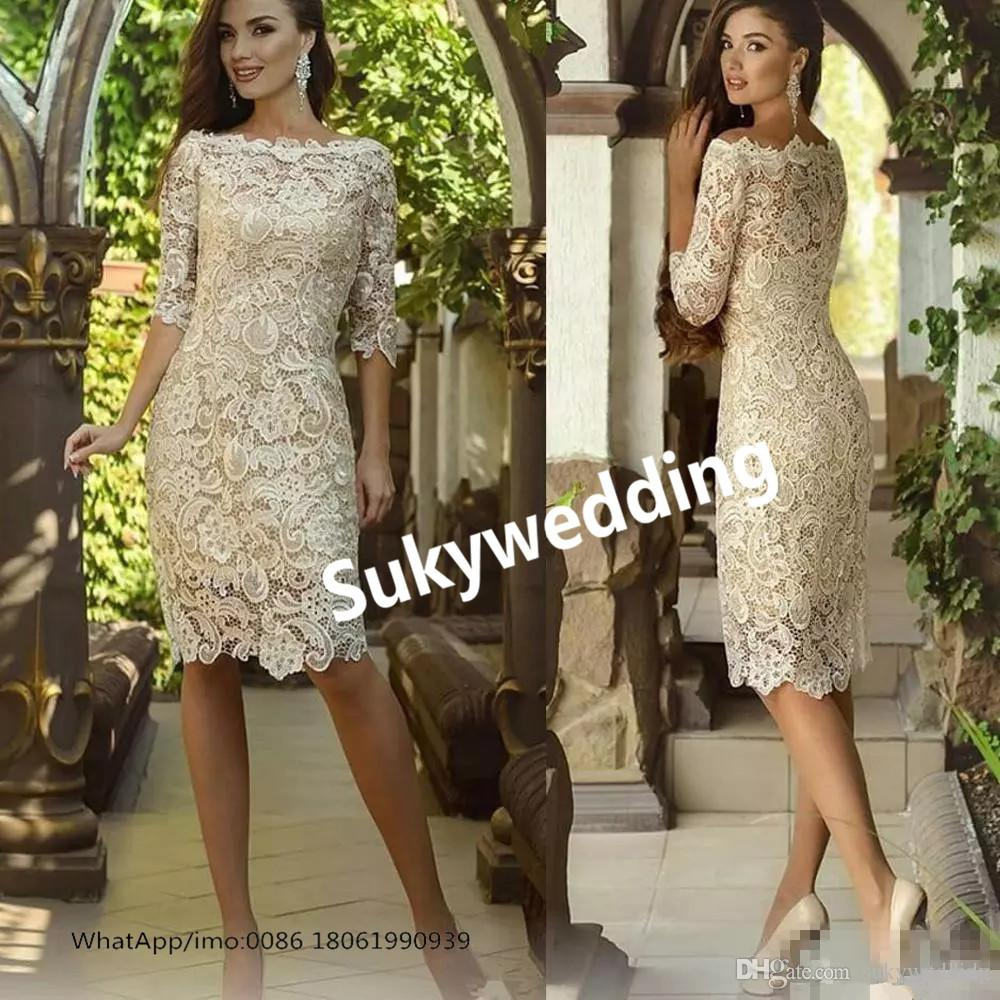 6932c1b5cf1 Retro Lace Mother Of The Bride Dresses Sheath Scoop Neck Half Sleeve Party Dresses  Wear Plus Size Women Special Occasion Dresses Knee Length Wedding Outfits  ...