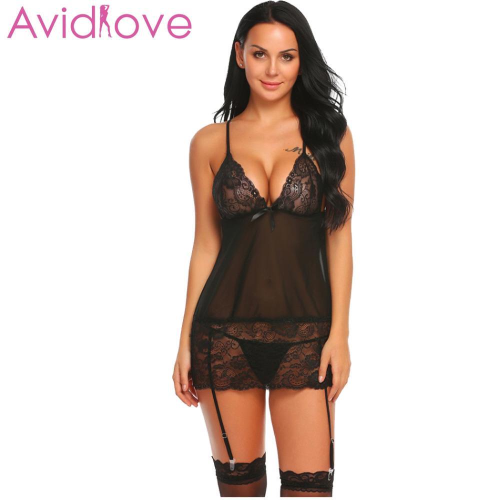 Pijamas Plus Size Avidlove Erotic Underwear Mulheres Lingerie De Renda Sexy  Erótico Hot Babydoll Vestido Sexo Camisola Traje De Vestuário Íntima Garter  Set ... 645268d61c69