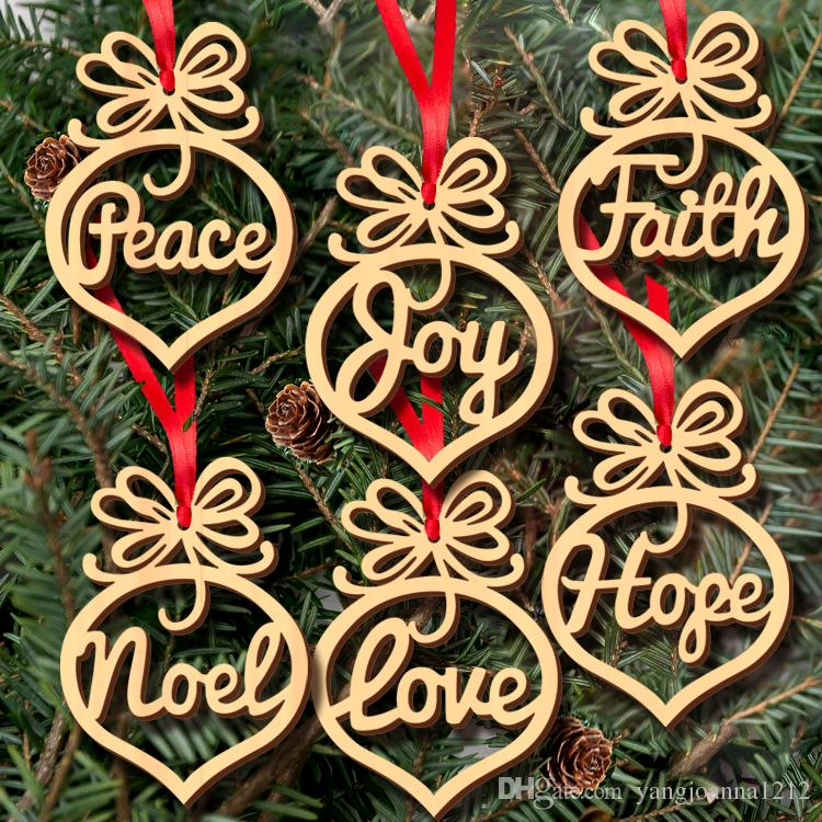 wood christmas tree ornaments decoration small hollow heart bubble pattern pendant letters hanging ornaments christmas bulb shape holiday decorations - Christmas Bulb Decorations