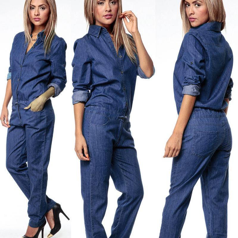 9650ddadf078 2019 2018 Women Long Sleeve Denim Jumpsuit Long Sleeves Turn Down Collar  Jeans Trouser Overalls From Dalivid