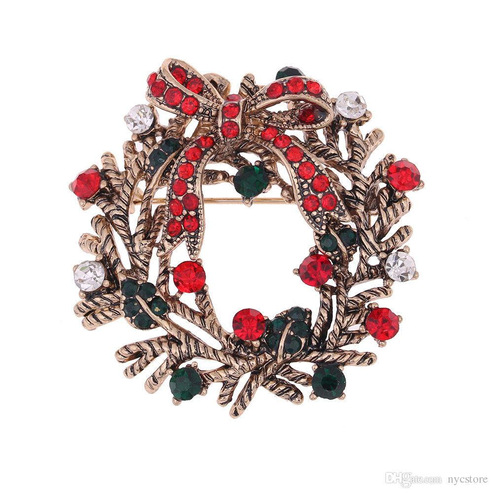 2018 Flower Christmas Brooches Red Green Rhinestones High End ...
