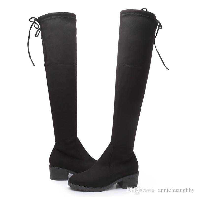 ece016bd870 Europe Style Women s Shoes Women Boots Autumn Stretch Fabric Over-the-Knee  Boots Thick Heels Elastic Boots Round Toe 34--43 Women Boots Over-the-Knee  Boots ...