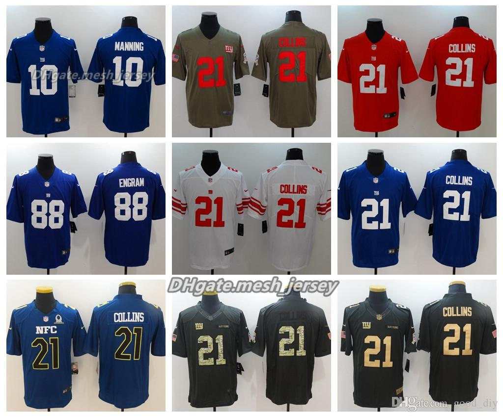 sneakers for cheap e2f1b 3c2eb Men New York Jersey Giants 10 Eli Manning 21 Landon Collins 88 Evan Engram  Color Rush Football Stitching Jerseys Embroidery Logo