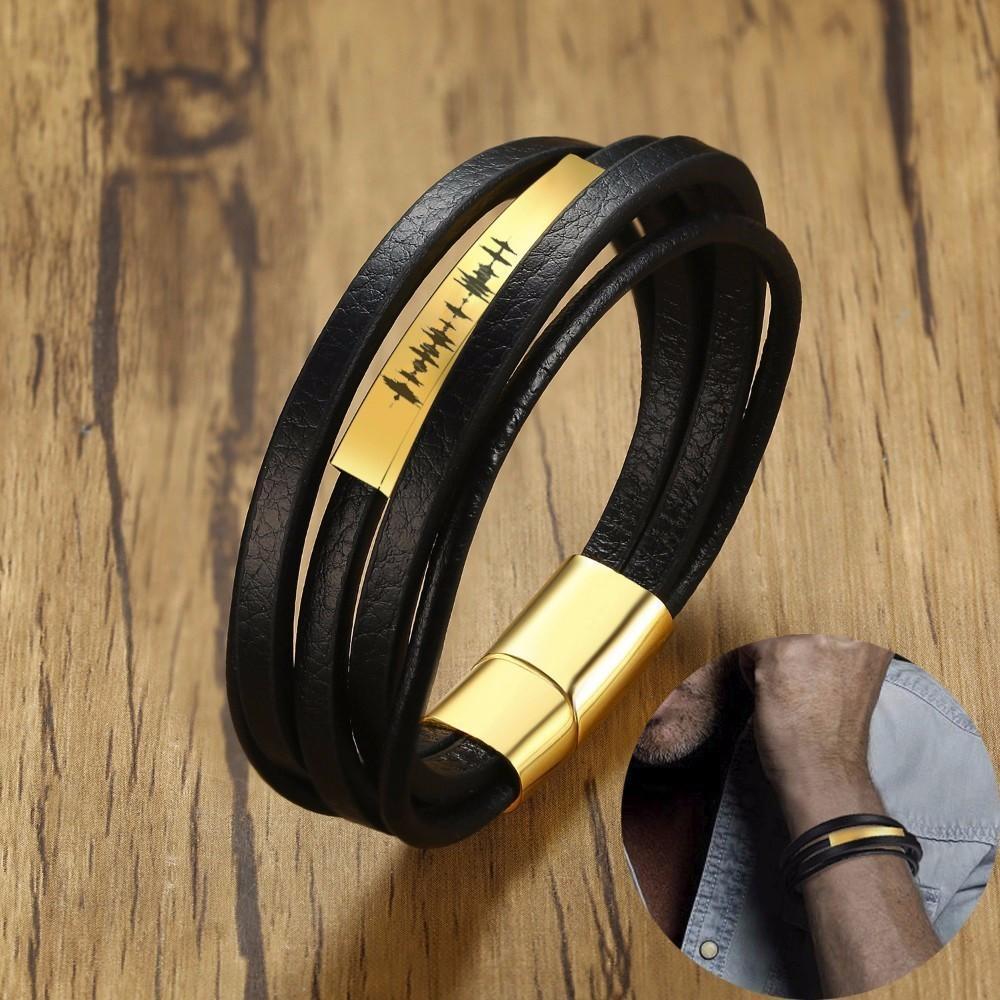 11dc52761cd06 Personalized Men s Multi-layer Wrap Bracelets with Engraved Voice Recording  Soundwave Bracelet Magnetic-Clasp Male Jewelry