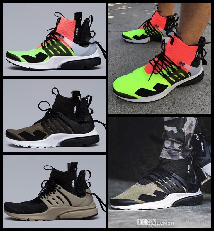 2018 Classic Air Acronym® x Lab Presto MID Blanc Noir Chaud Lava Chaussures de course pour hommes Prestos Sports Designer Trainers Sneakers