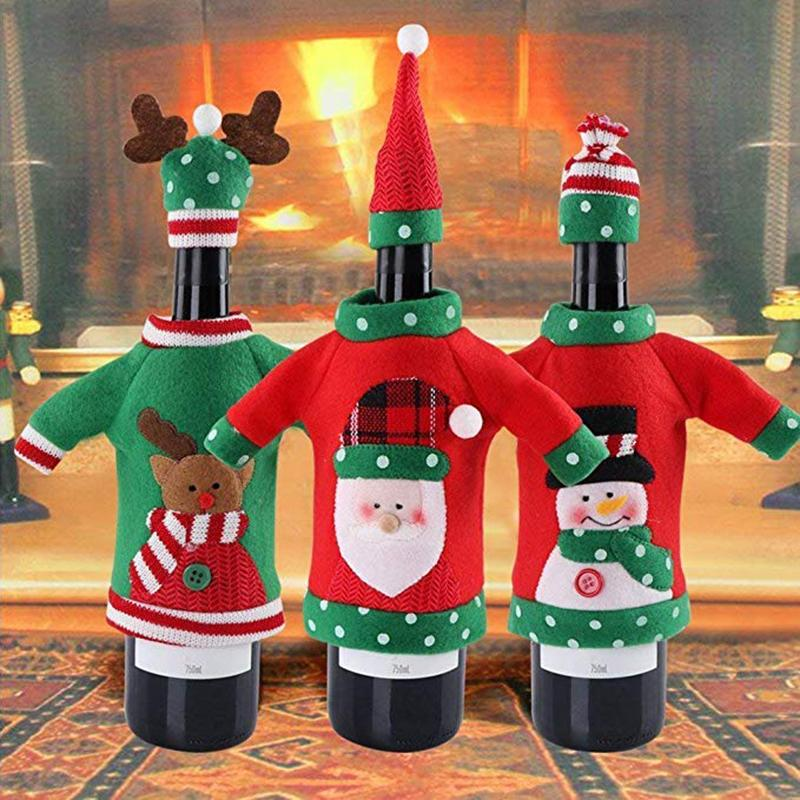 Kitchen Christmas Decorations Wine Bottle Sweaters Cover Hat Santa