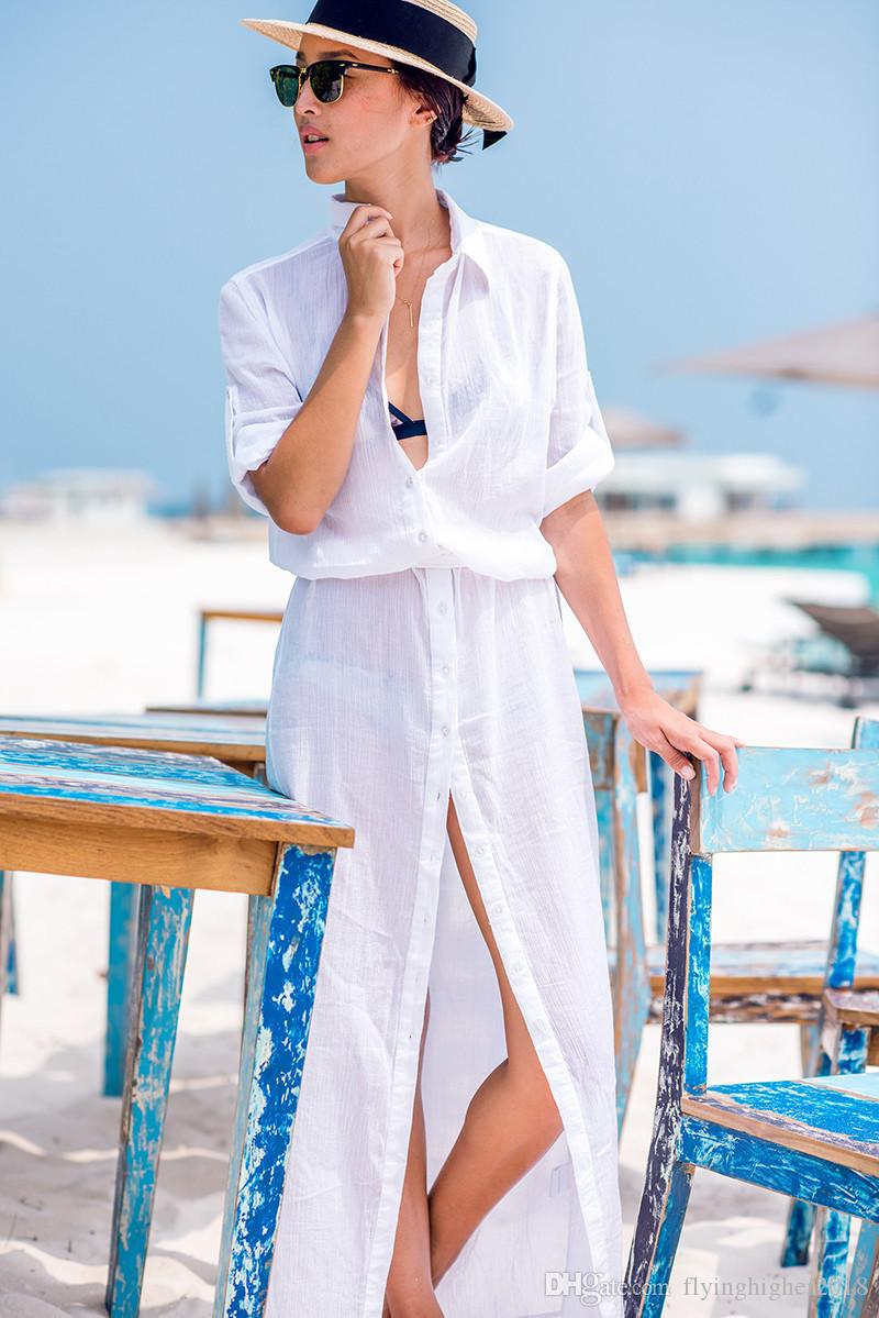 Şifon mayolar örtbas Düğme Long Beach coverups Kadınlar Maxi Beach Dress coverups Gevşek Beachwear