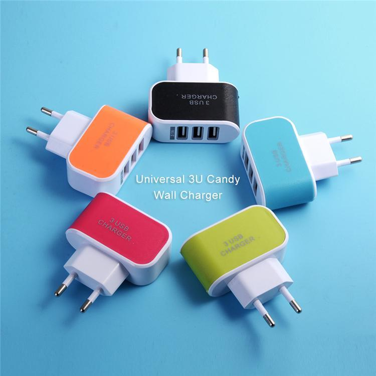 5e9808a319e Cargador De Baterias Para Celular EE. UU. EU Plug 3 USB Cargadores De Pared  5V 3.1A Adaptador LED Con Puertos USB Triples Cargador De Viaje Conveniente  Para ...