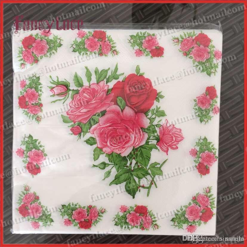 2019 Wholesale Rose Paper Napkin Flower Festive Party Tissue