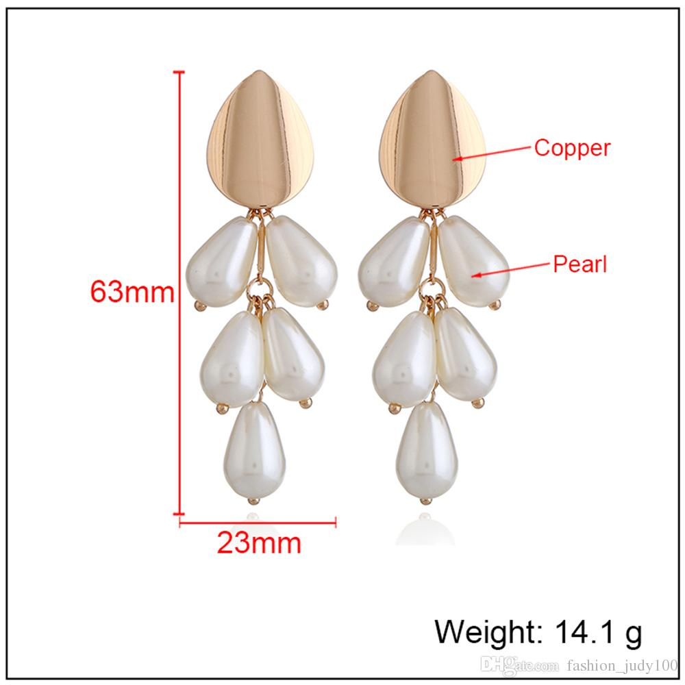 Modern Beautiful Pearl Ear Ring Dangle Ear Stud Long Earring Copper Fashional Equisite Ear Stud For Femal Jewelry Accessaries Wedding Pary