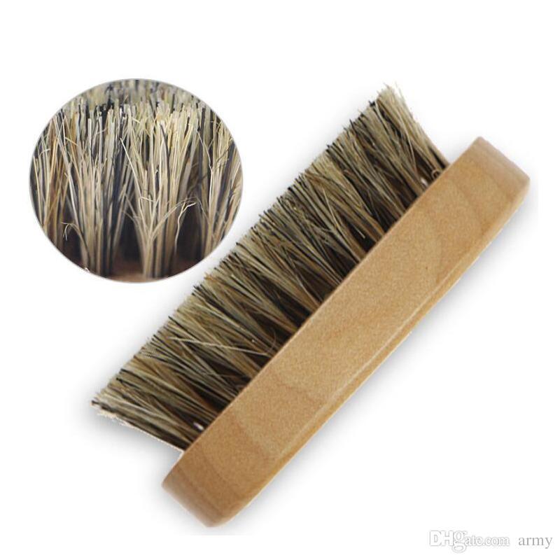 2019 New Boar Hair Bristle Beard Mustache Brush Military Hard Round