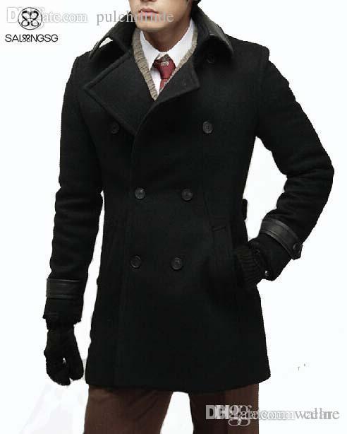 Großhandel Herbst Casual Herren Wolle Winterjacke Lange Woolen Herren Mantel  Leder Kragen Warme Wolle Outwear Für Männer XXL Schwarz Mantel Luxus Von  Wallne ... d5aed0a68b