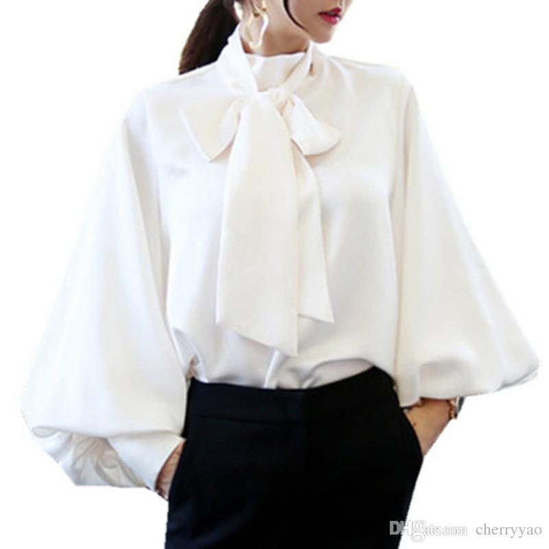 0ae70292c7429b 2019 Lantern Sleeve Chiffon Blouse Shirt Bow Shirts Women White Runway  Korean Blouses 2018 Fashion Spring Office Lady Casual Blusas From  Cherryyao, ...