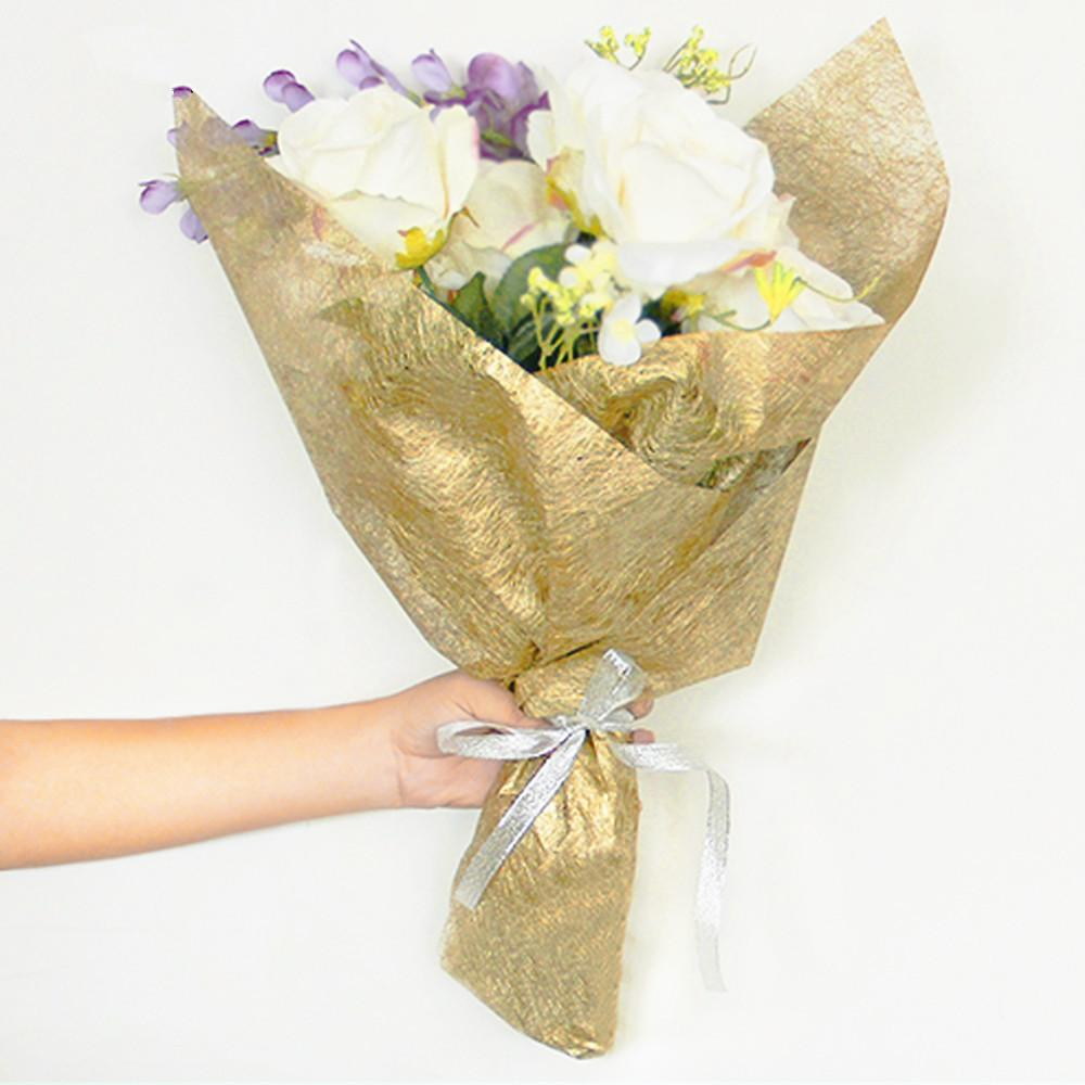 High Grade Electroplating Silk Paper Flowers Gift Bouquet Packaging