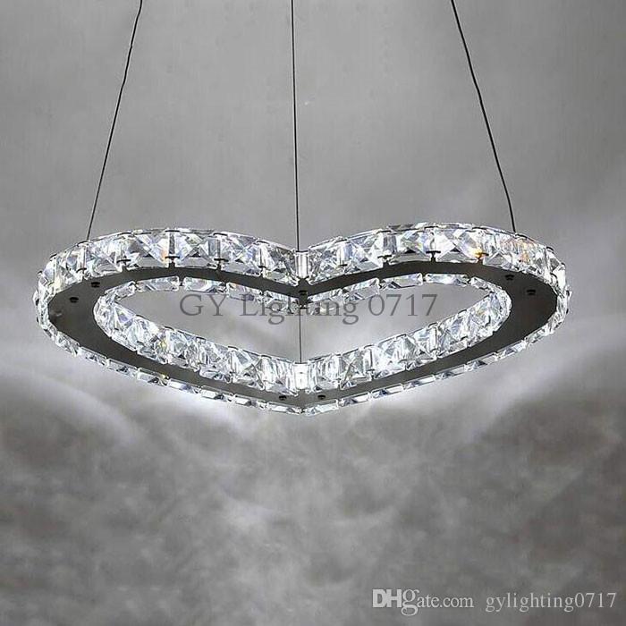 AC 110- 220 v 230 V LED coração Lustre de Luxo Cristal Art Deco Lustre LED Cordão Ajustável Lustres de Iluminação Da Lâmpada Romântico