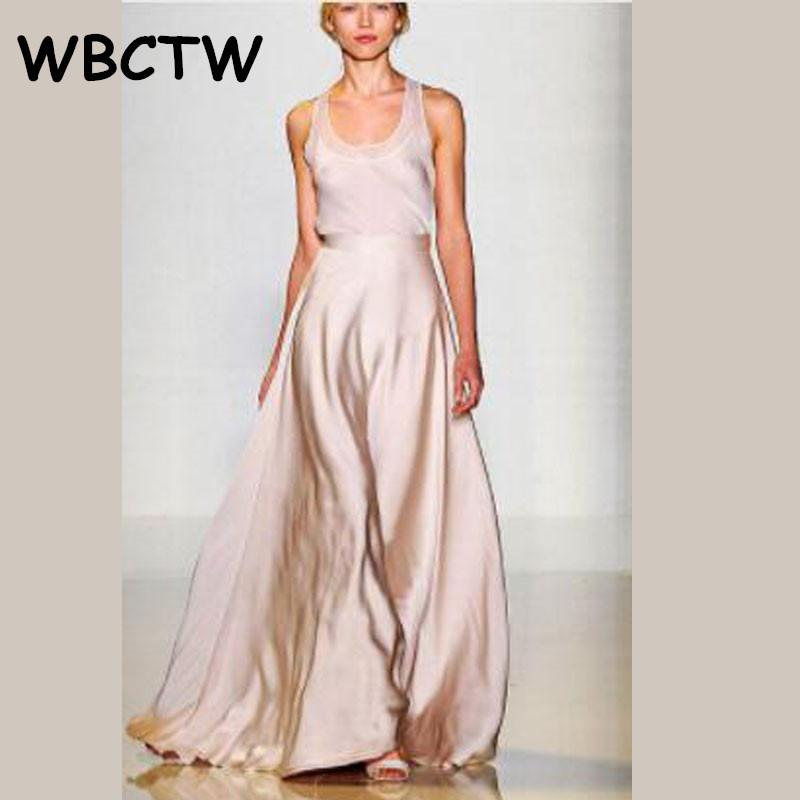 b669bf49fab 2019 WBCTW Satin Flare Maxi Wide Leg Pants Women Autumn High Waist Solid  Pink 10XL Trousers 2018 Woman Skirts Pants Plus Size Y1891705 From  Zhengrui07