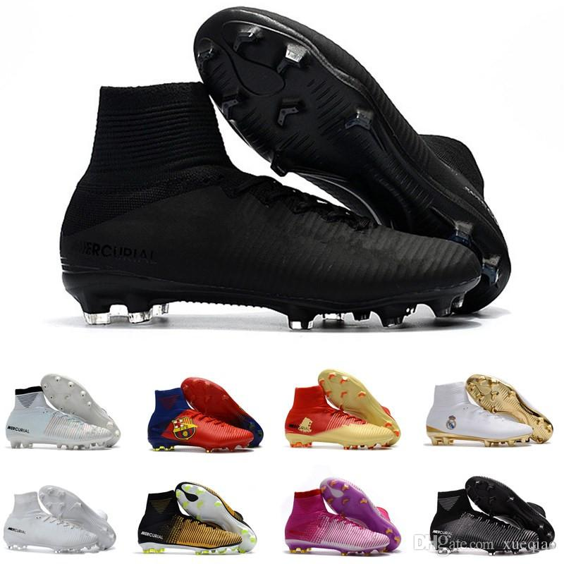 5f45b46a8 2019 Men Shoes Mercurial Superfly CR7 V FG AG Football Cristiano Ronaldo  High Tops Neymar JR ACC Soccer Shoes Magista Obra Mens Soccer From Xueqiao
