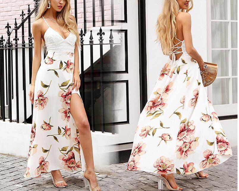 ed24f8f631 Compre Vestido Bohemio Estampado Floral De Las Mujeres Del Verano Del  Cordón Atractivo Con Cuello En V Dividido Sin Respaldo De Encaje Hasta  Vacaciones De ...