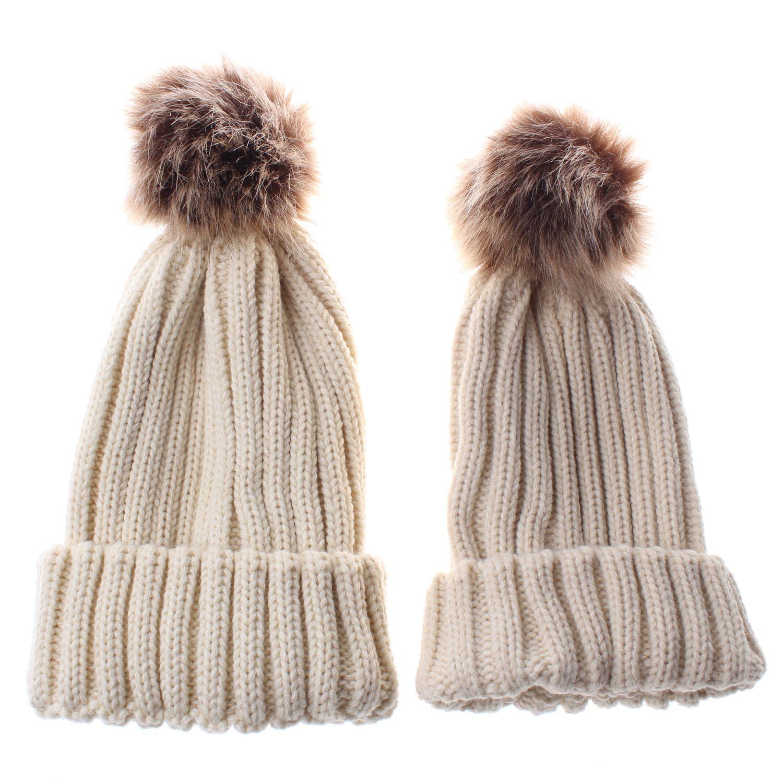 7de5a7887a1 Winter Hat Mother Baby Fur Pom Pom Bobble Beanie Toddler Kids Girls ...