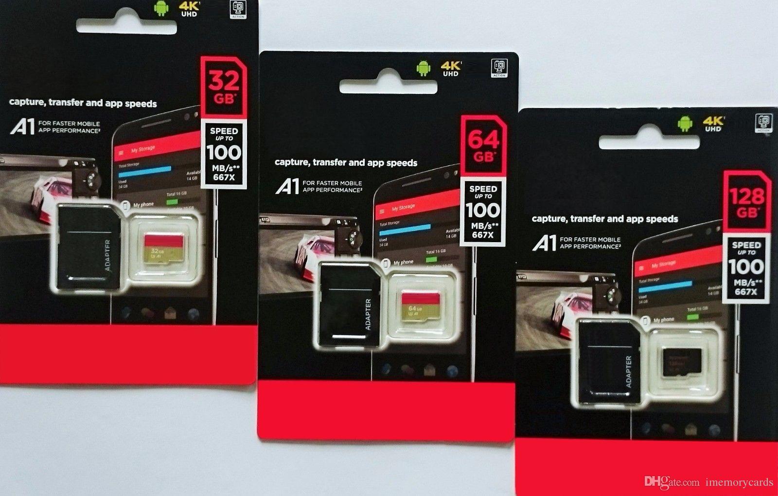 2018 뜨거운 판매 블랙 안 드 로이드 80 MB / S 90 MB / S 64 GB 128 GB C10 TF 플래시 메모리 카드 클래스 10 무료 SD 어댑터 소매 블리스 터 패키지